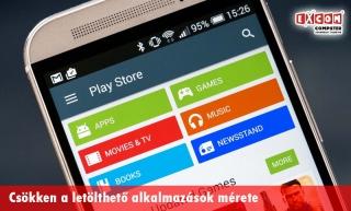 3dcf3b423c Csökken a Google Play Áruházban elérhető szoftverek mérete